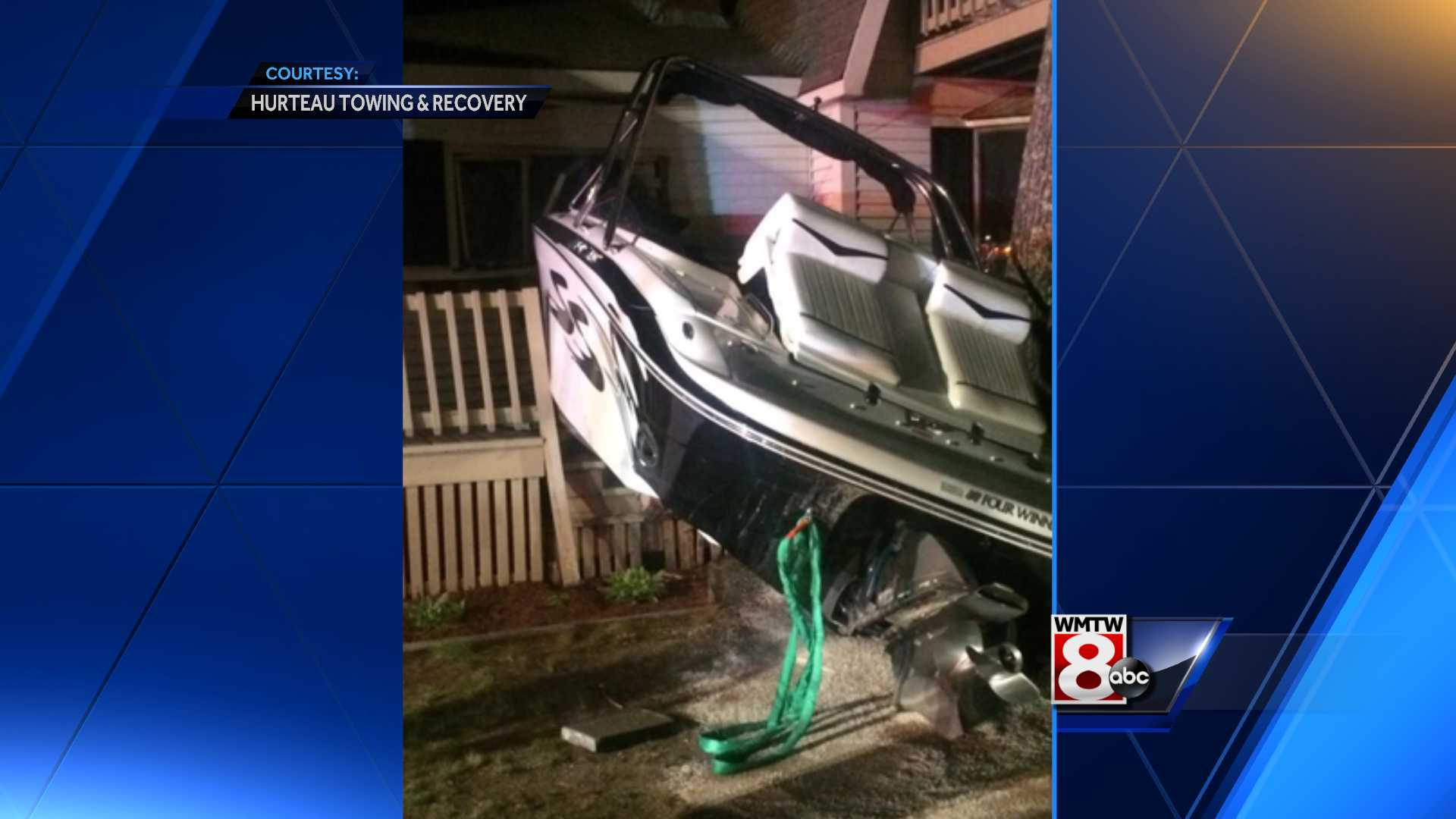 Boat that crashed into house on NH lake stolen from nearby mooring