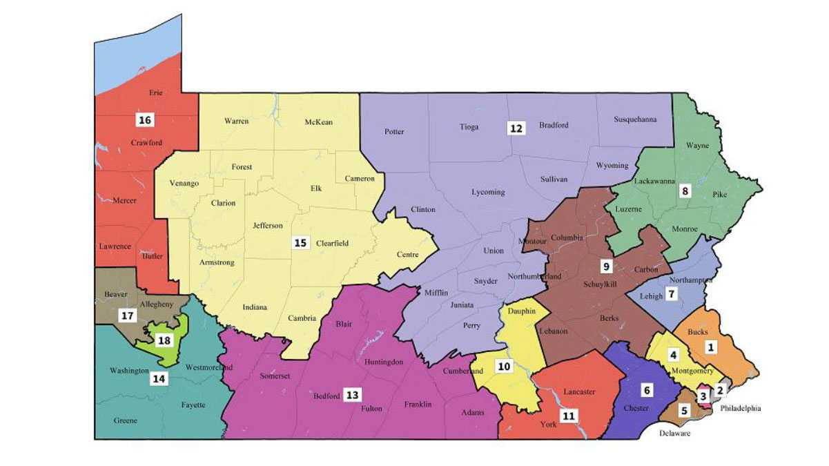 Pennsylvania's new congressional district map, as handed down by the state Supreme Court.