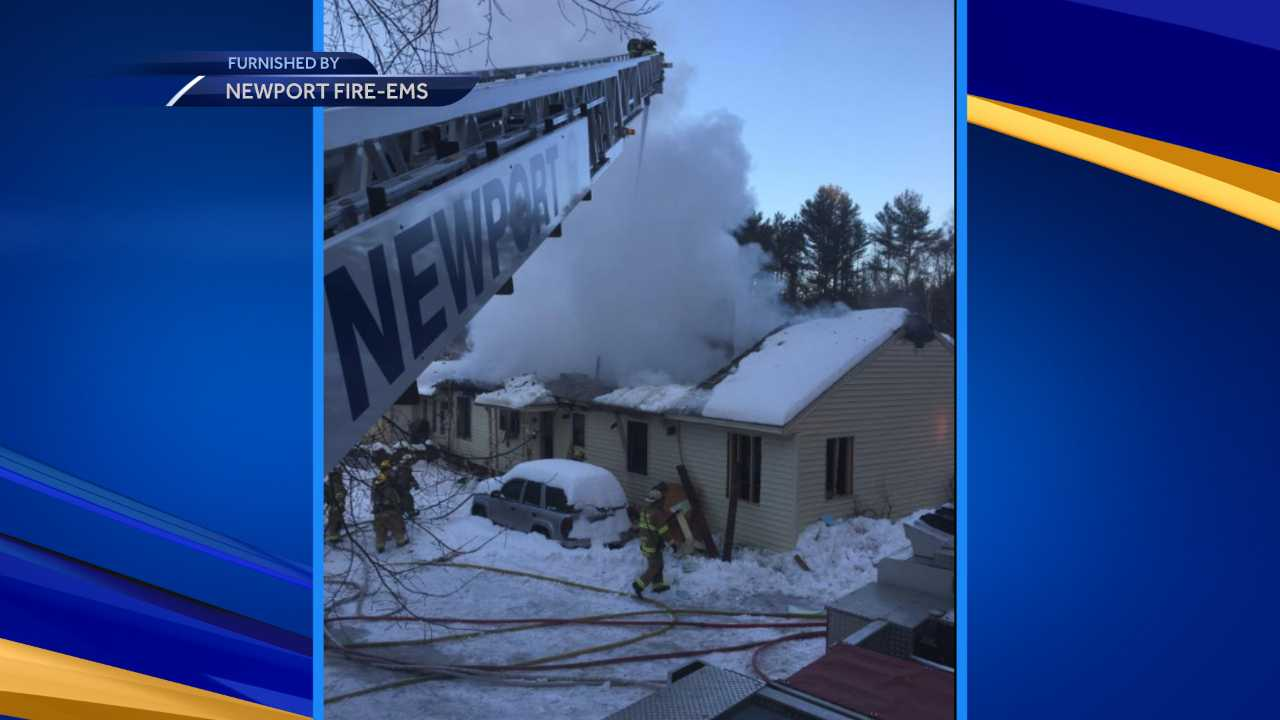 2-alarm fire burns Newport home