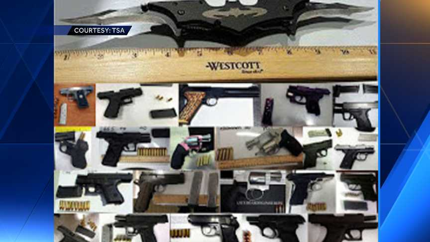 Confiscated items at airports in U.S.