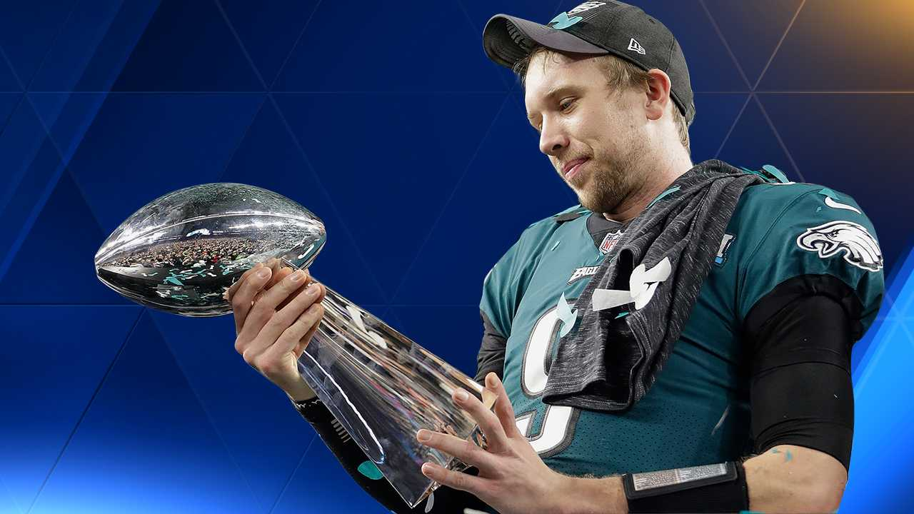 Nick Foles with Super Bowl Trophy