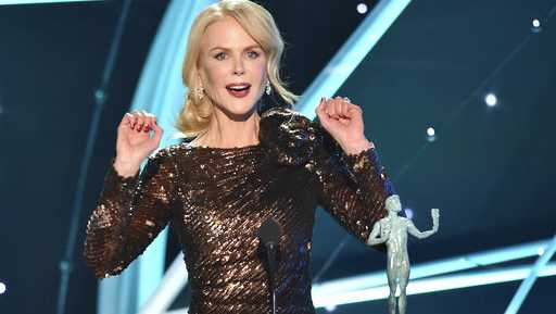 "Nicole Kidman accepts the award for outstanding performance by a female actor in a television movie or limited series for ""Big Little Lies"" at the 24th annual Screen Actors Guild Awards at the Shrine Auditorium & Expo Hall on Sunday, Jan. 21, 2018, in Los Angeles."