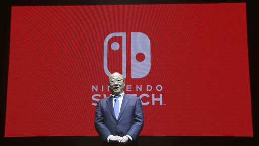 President of Nintendo Tatsumi Kimishima speaks during a presentation event of Nintendo Switch in Tokyo, Friday, Jan. 13, 2017.