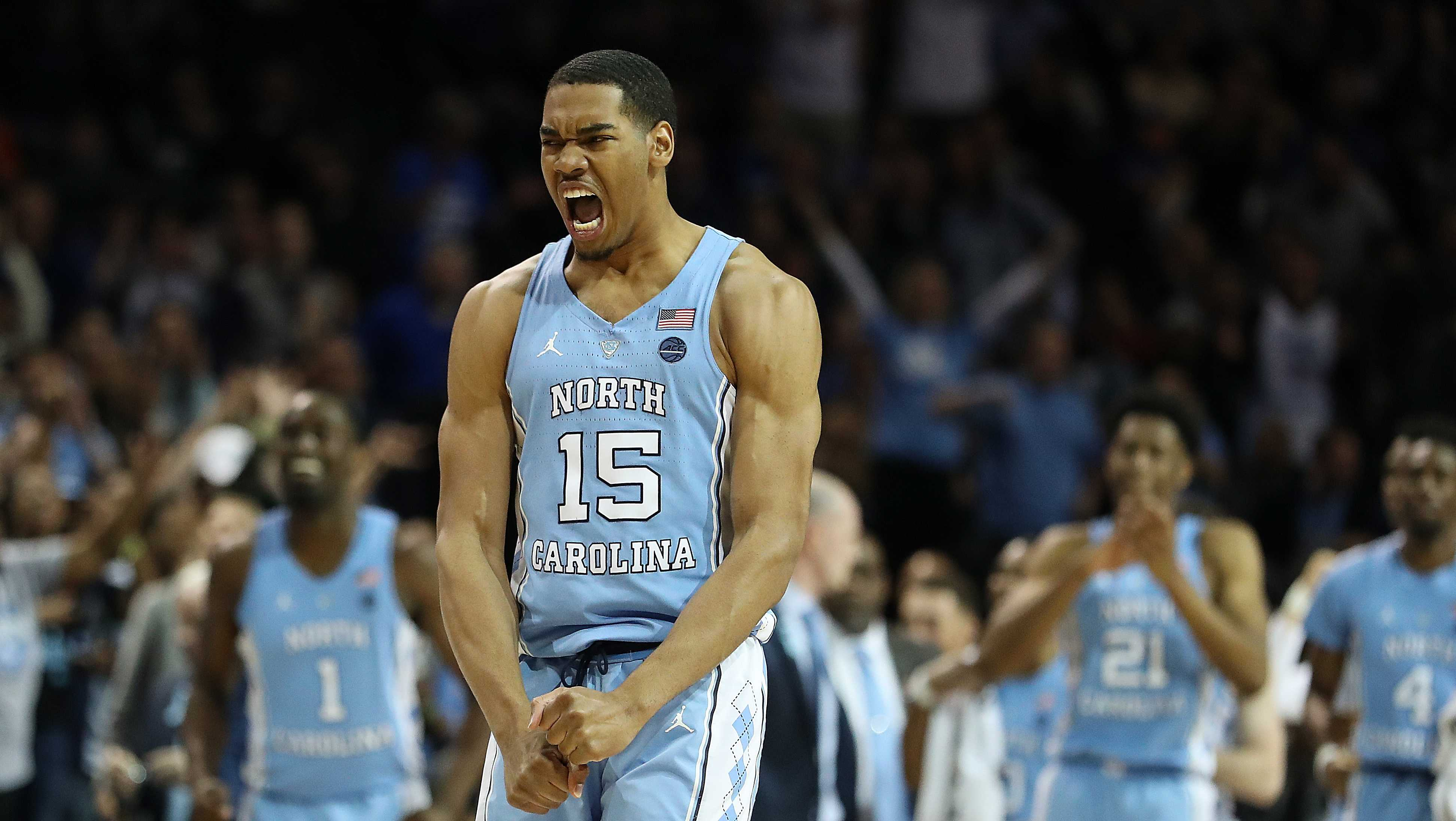 Garrison Brooks #15 of the North Carolina Tar Heels celebrates against Duke Blue Devils during the semifinals of the ACC Men's Basketball Tournament at the Barclays Center on March 9, 2018 in New York City.