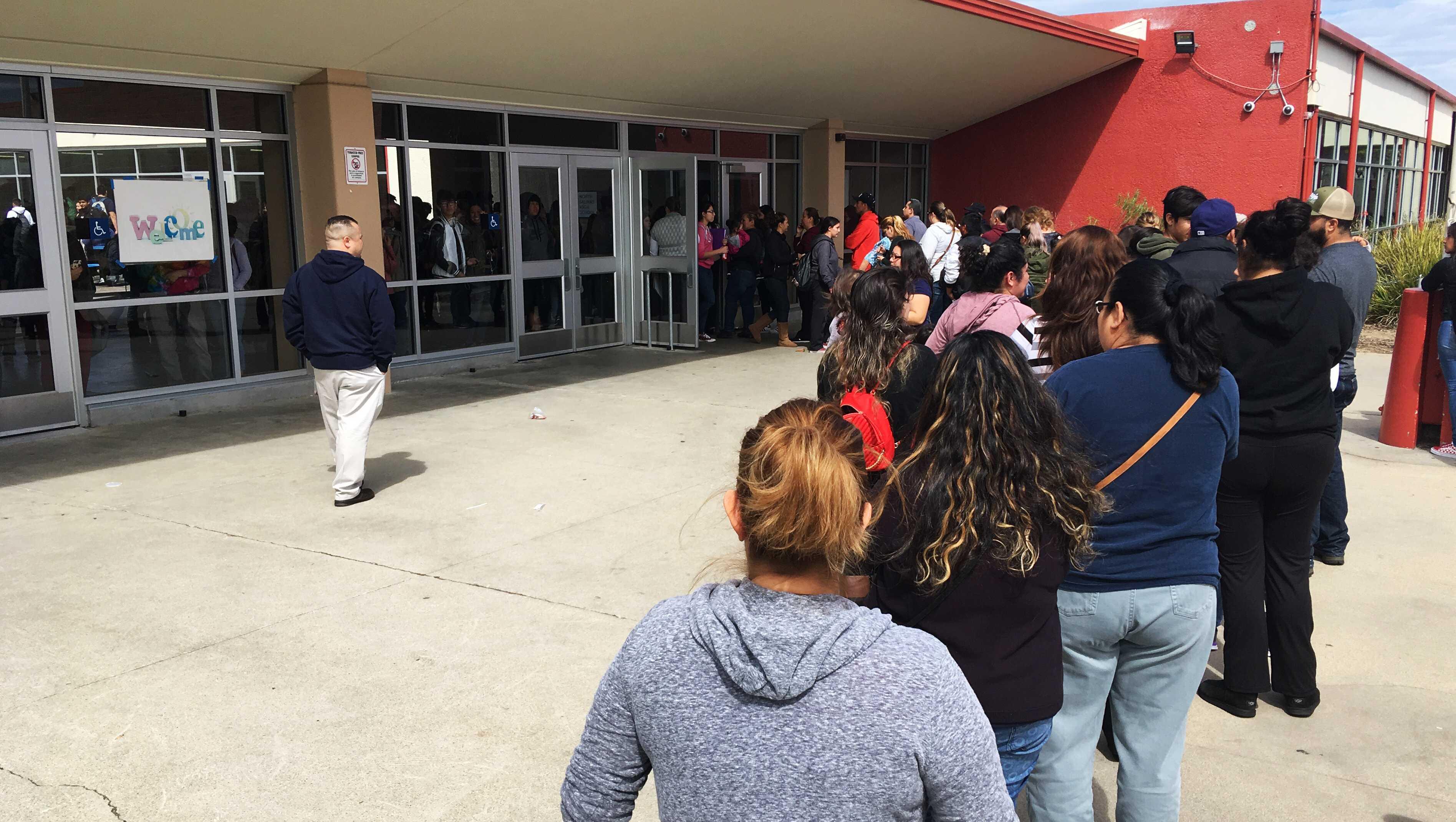 Parents waiting at North Salinas High School
