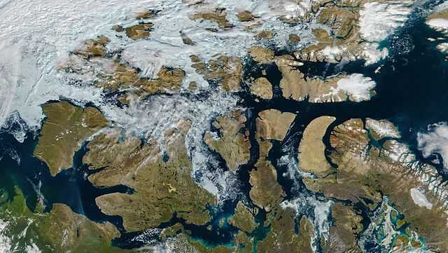 A satellite image shows the Northwest Passage with a nearly ice-free route on Aug. 9, 2016.