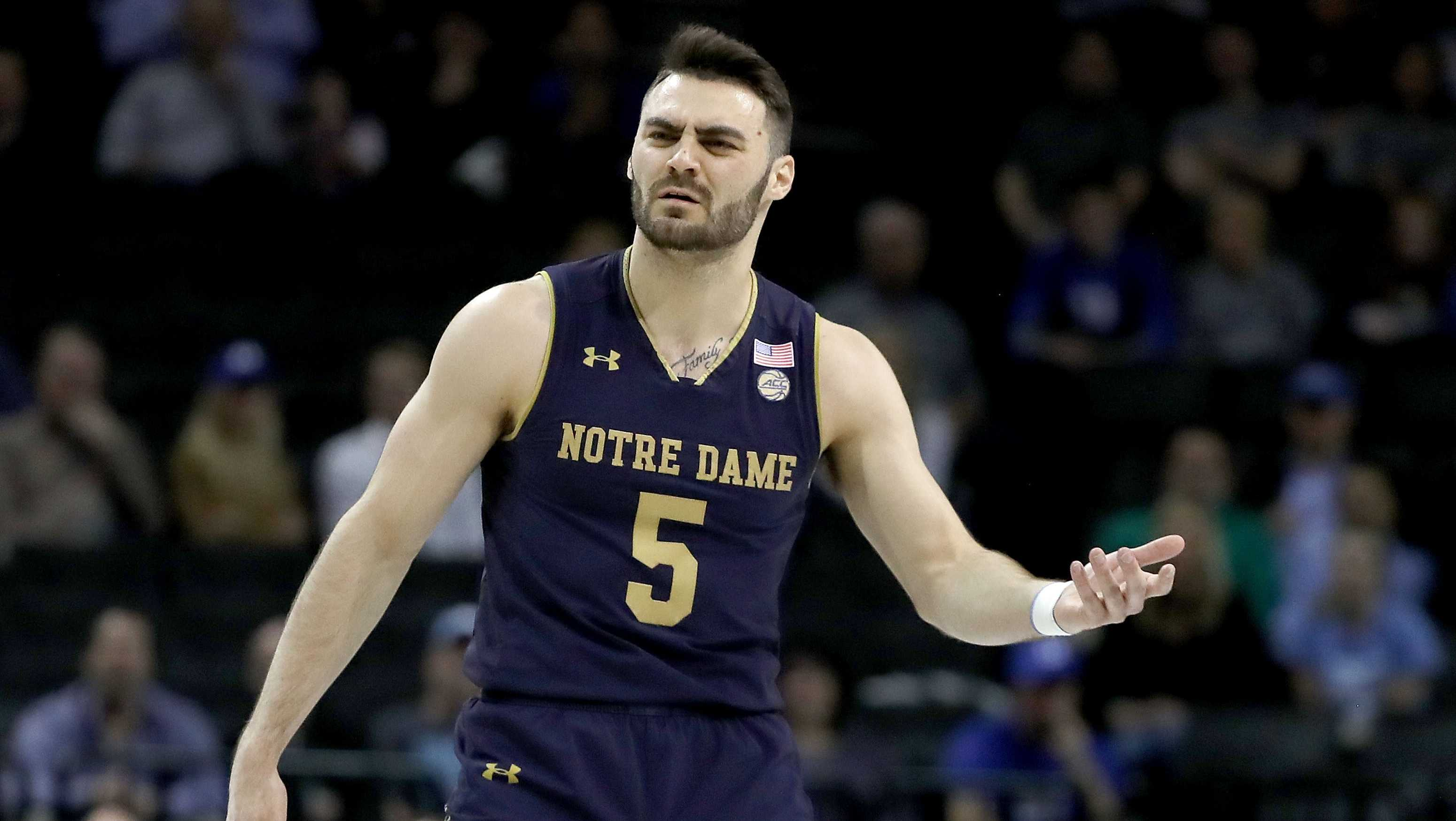 Matt Farrell #5 of the Notre Dame Fighting Irish reacts in the first half against the Duke Blue Devils during the quarterfinals of the ACC Men's Basketball Tournament at Barclays Center on March 8, 2018 in the Brooklyn borough of New York City.