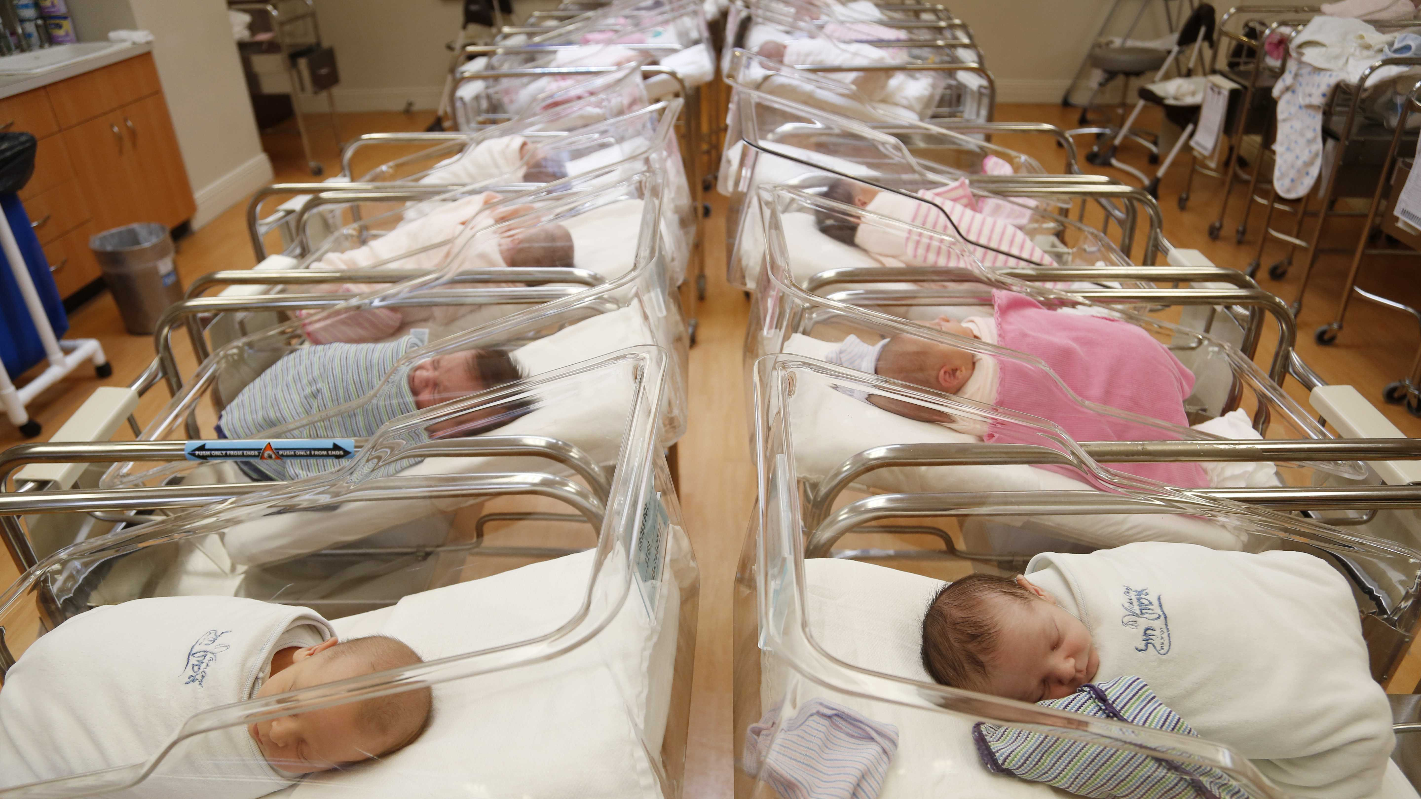 Newborns rest in the nursery of Aishes Chayil, a postpartum recovery center, in Kiryas Joel, N.Y., Thursday, Feb. 16, 2017.