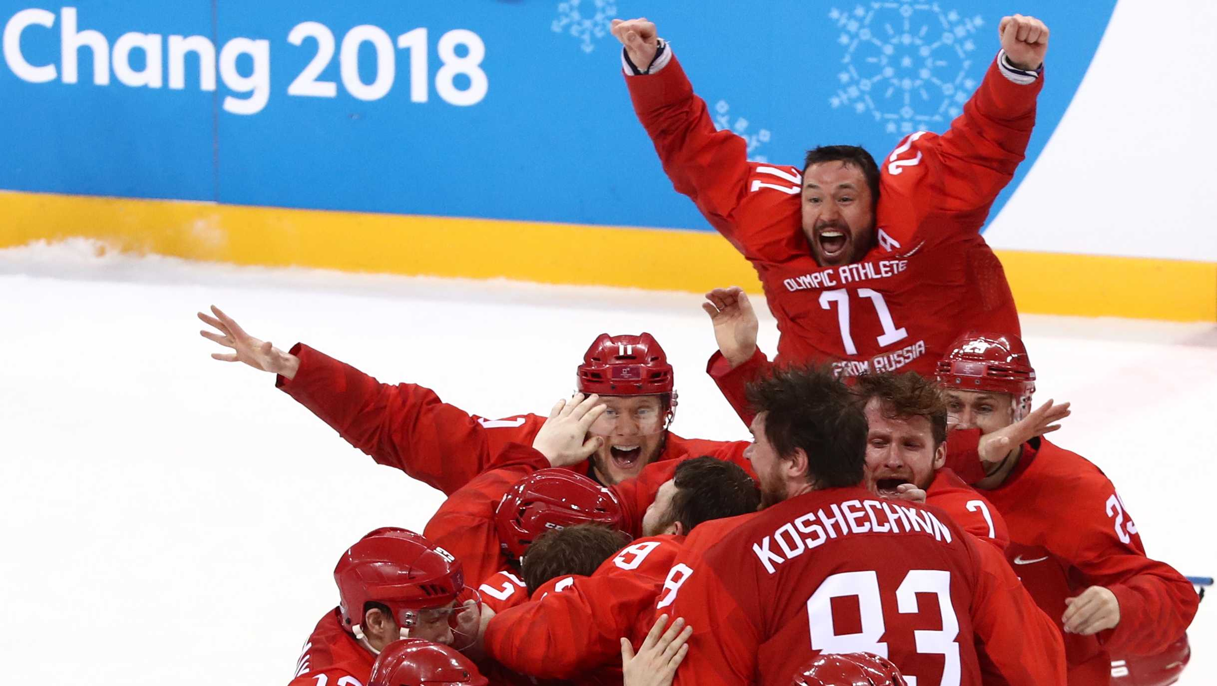 The Olympic Athletes from Russia celebrate their victory in the men's gold medal ice hockey game against Germany at Gangneung Hockey Centre at the 2018 Winter Olympic Games.