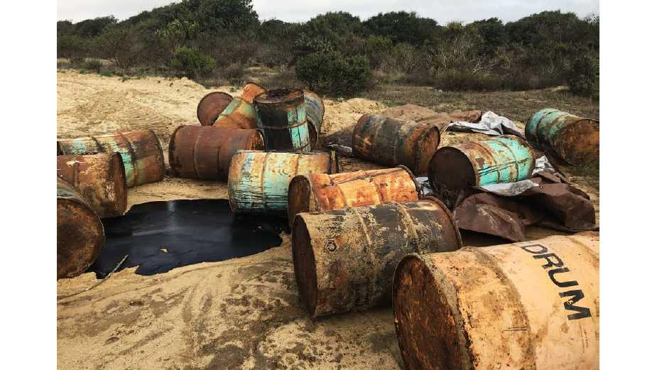 Black tar dumped in Marina