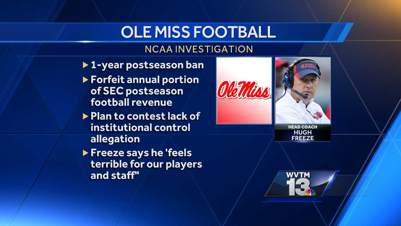 Ole Miss self-imposes 1-year football postseason ban