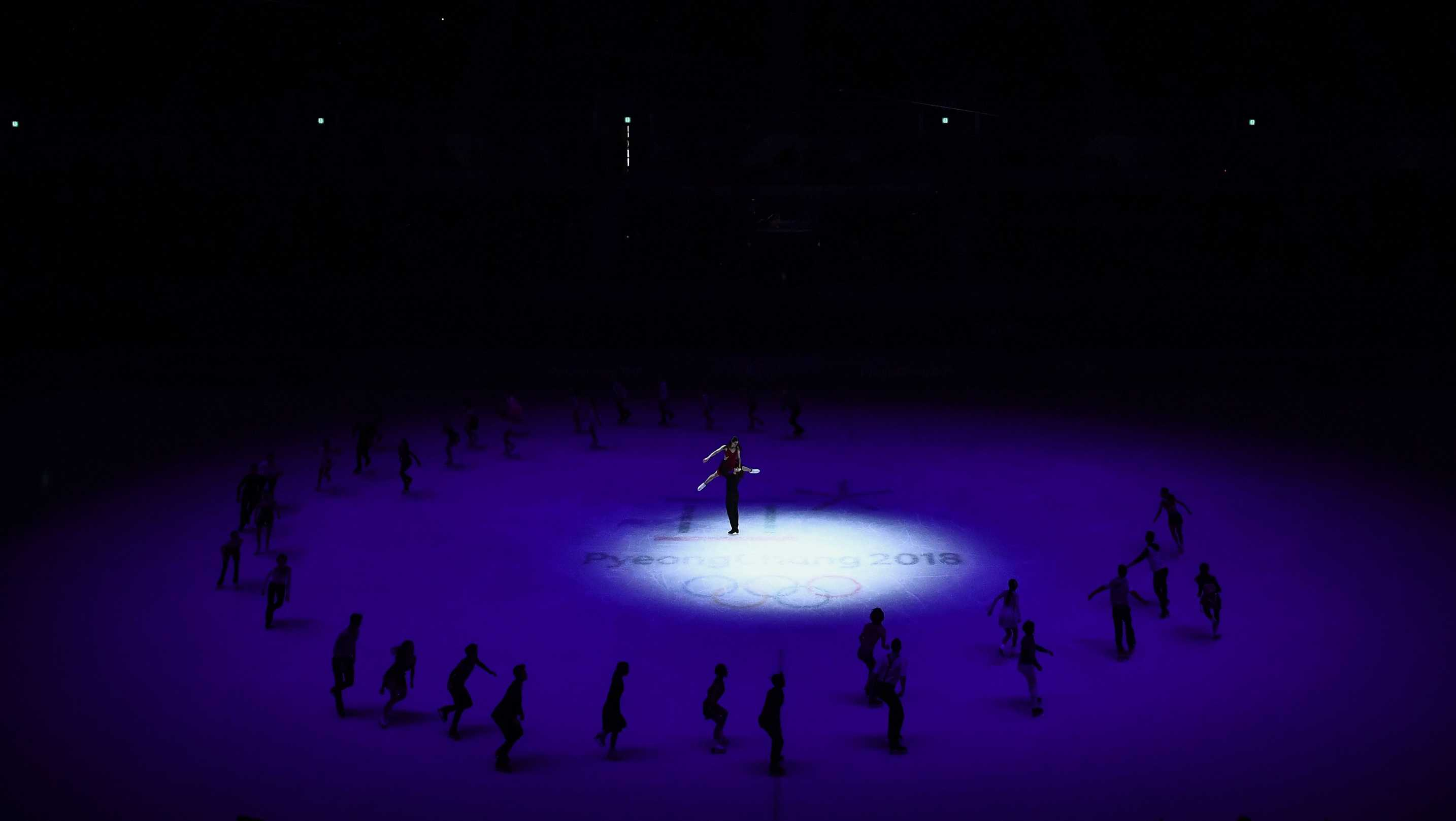 Canada's Tessa Virtue and Canada's Scott Moir perform during the figure skating gala event during the Pyeongchang 2018 Winter Olympic Games at the Gangneung Oval in Gangneung on February 25, 2018.