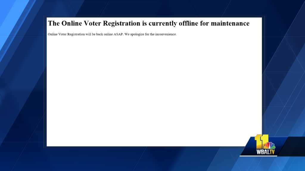 online voter registration site down