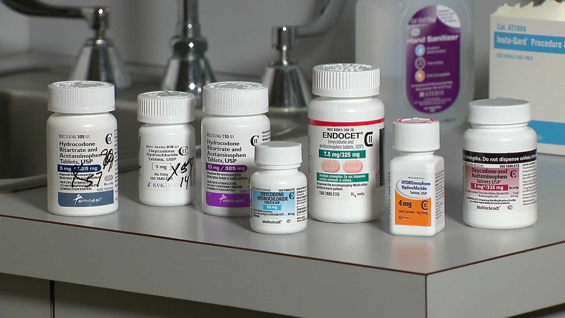 Variety of opioid pill bottles