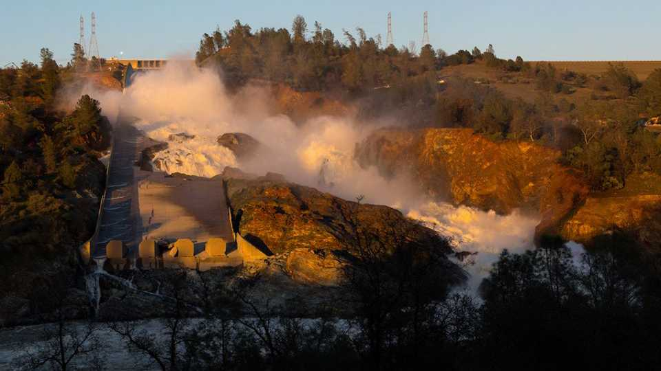 The California Department of Water Resources shared this photo of the main spillway at Lake Oroville on Sunday, Feb. 26, 2017.
