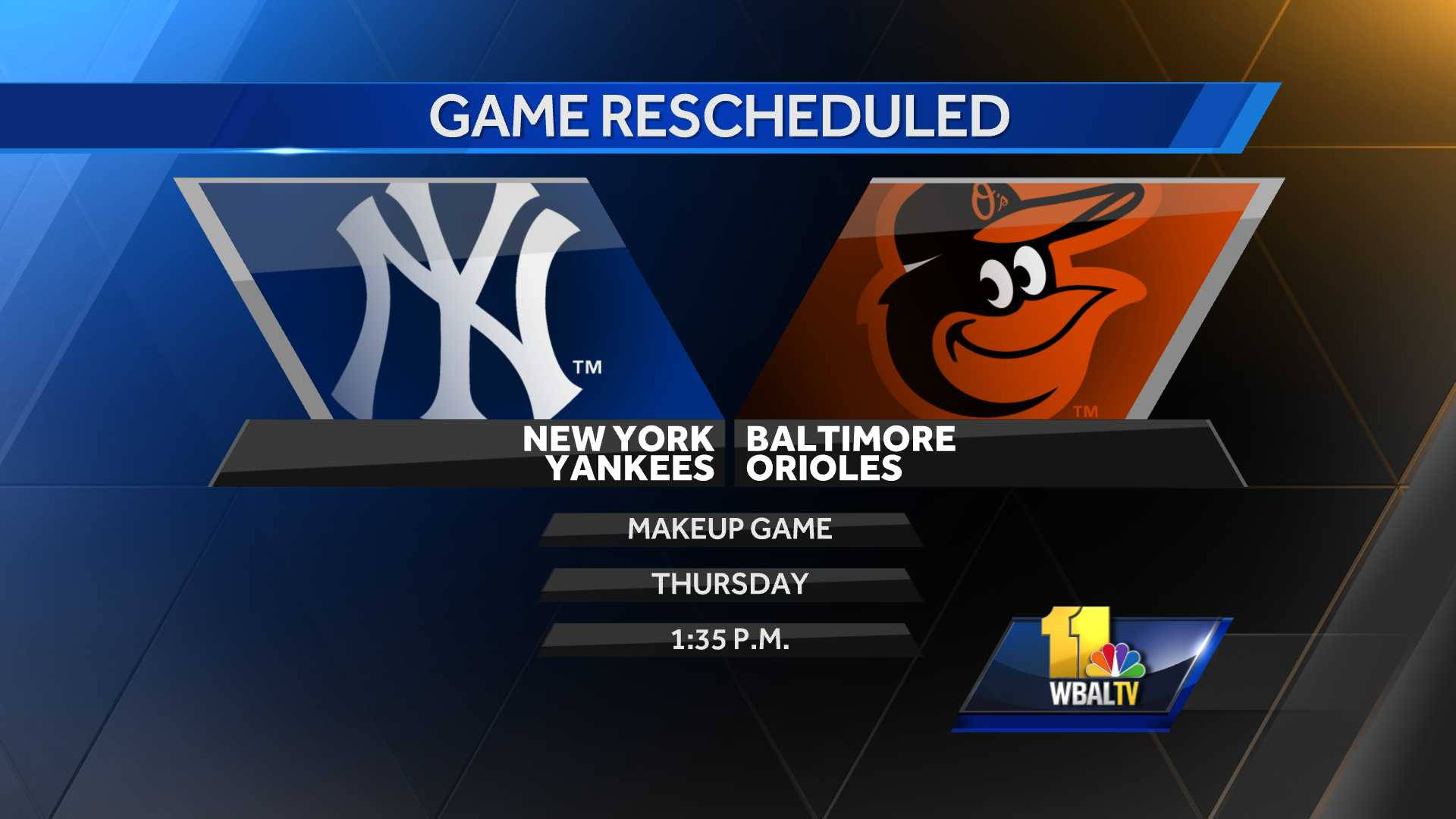 Orioles-Yankees makeup game Thursday