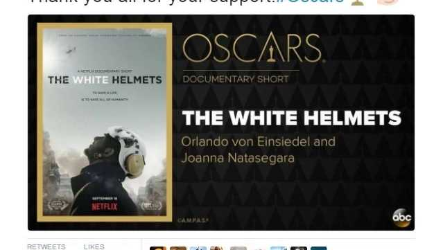 """The White Helmets,"" a documentary about volunteer rescue workers in Syria, took home the Oscar for Best Documentary Short Sunday, Feb. 26, 2017. It was the first Academy Award win for Netflix, which distributed the film. Khaled Khatib, a cinematographer and press officer for the Syrian White Helmets, thanked supporters on Twitter."