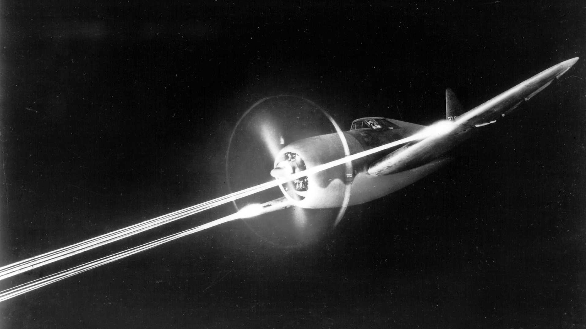 P-47 Thunderbolt during night firing trials