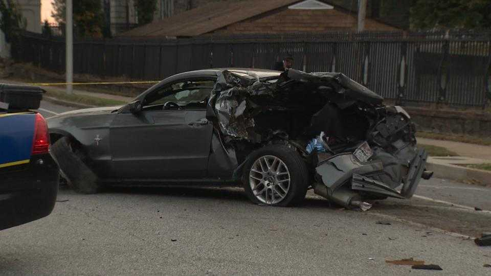 A Ford Mustang was destroyed after being struck by a school bus on the 3800 block of Frederick Avenue.