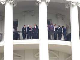 Patriots on White House balcony