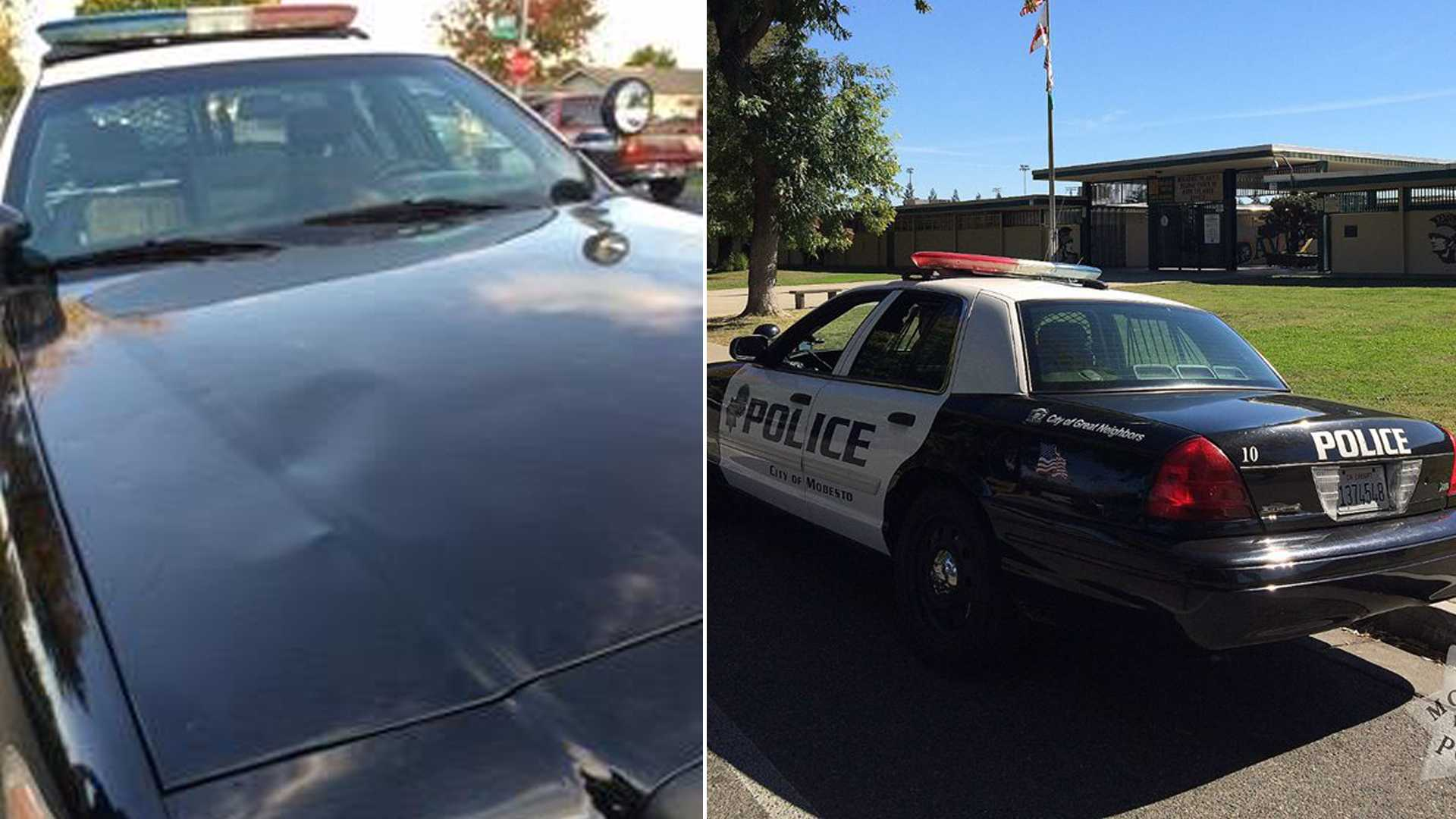 A Modesto police patrol car was damaged on Oct. 12, 2016, by a Davis High School student, police said.