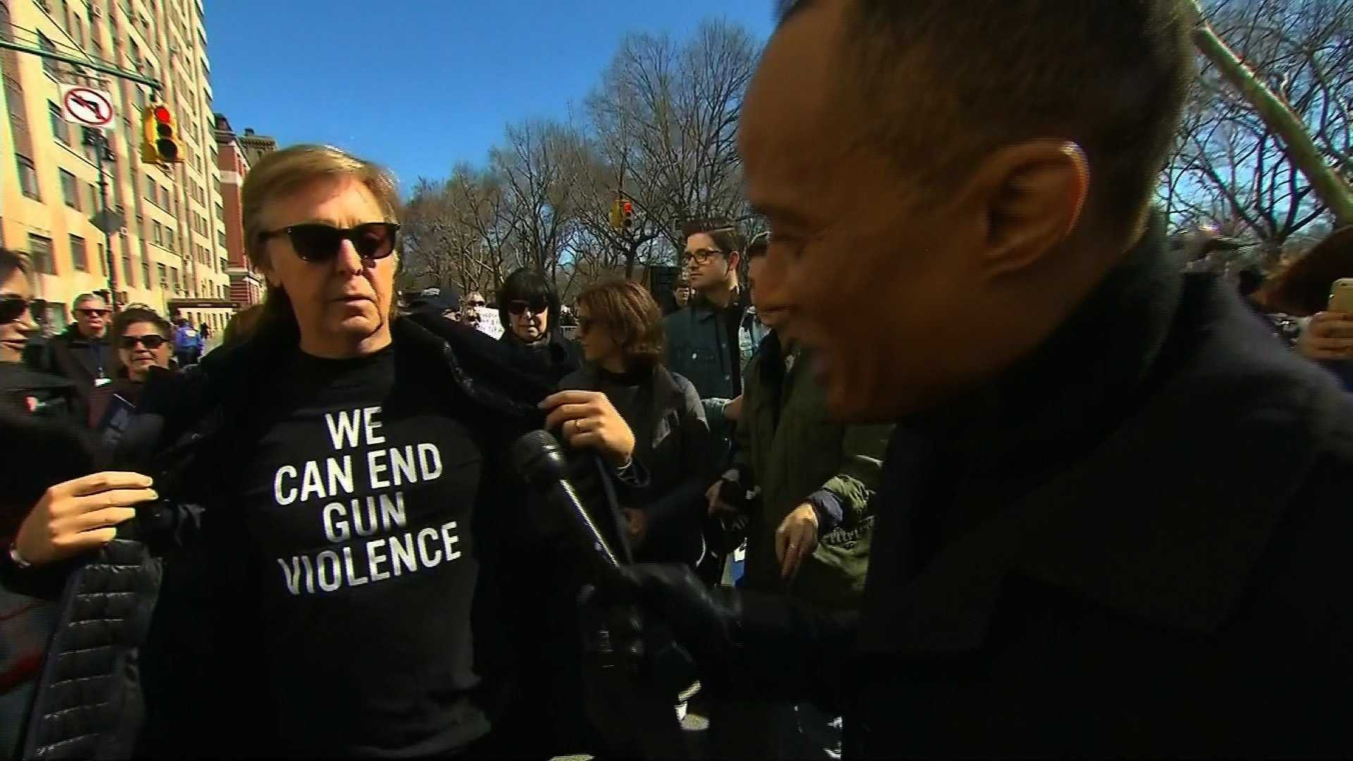Paul McCartney attended the March for Our Lives in New York on Saturday, telling CNN the cause was important to him because he lost friend and bandmate John Lennon to gun violence.