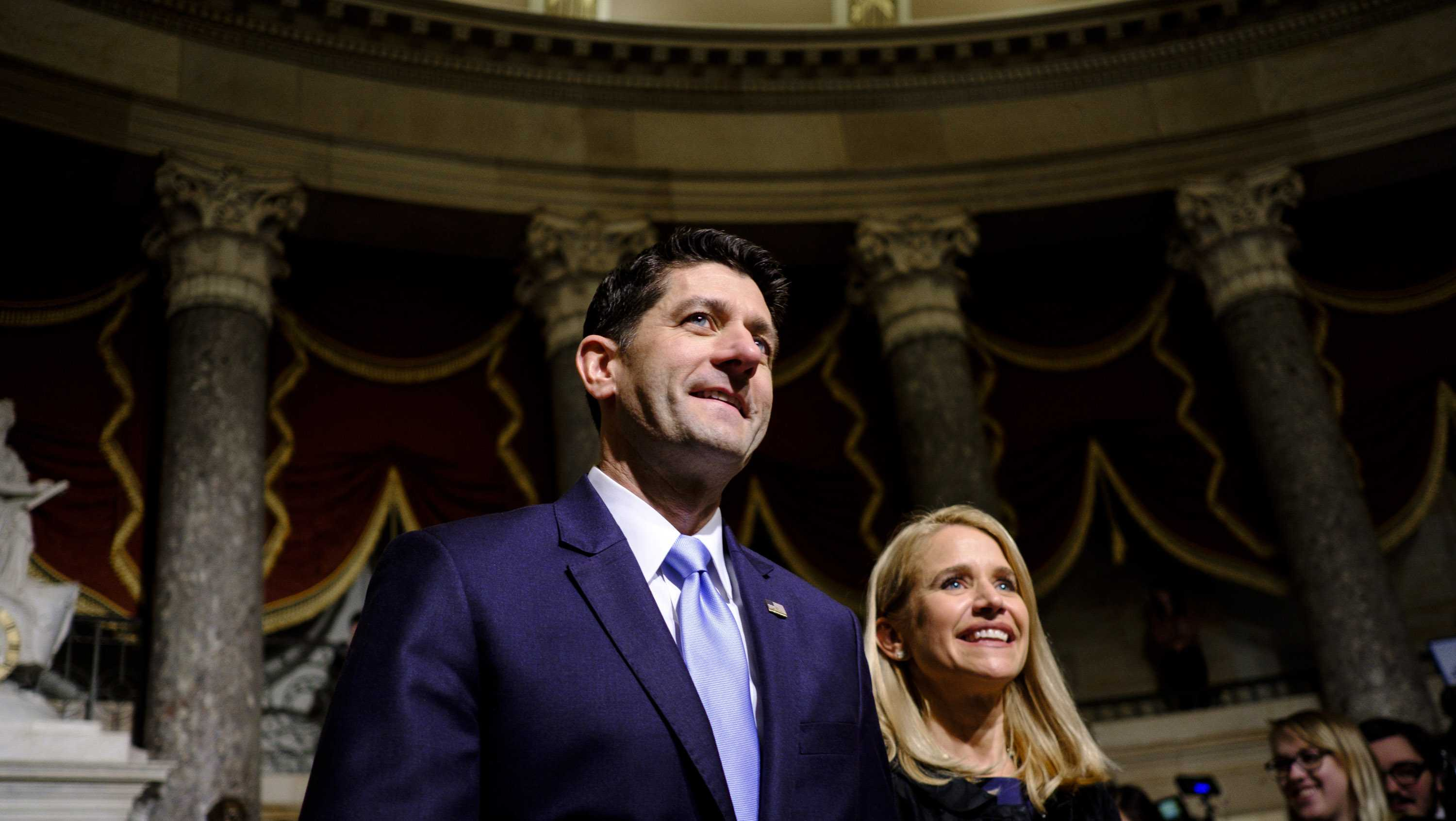 U.S. Speaker of the House Paul Ryan (R-WI) and his wife, Janna, make their way to the House of Representatives Chamber for President Donald Trump's first State of the Union Address before a joint session of Congress on January 30, 2018 in Washington, DC.
