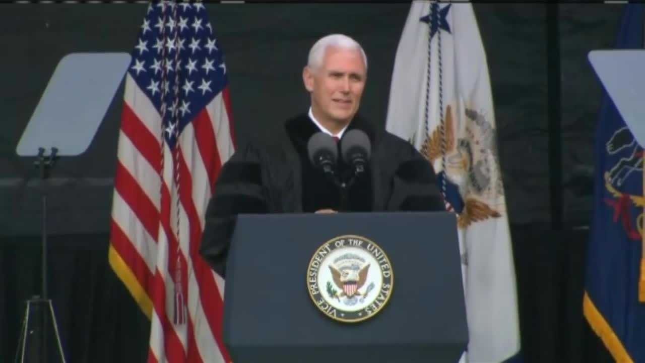Applause, protests greet Pence at Notre Dame commencement