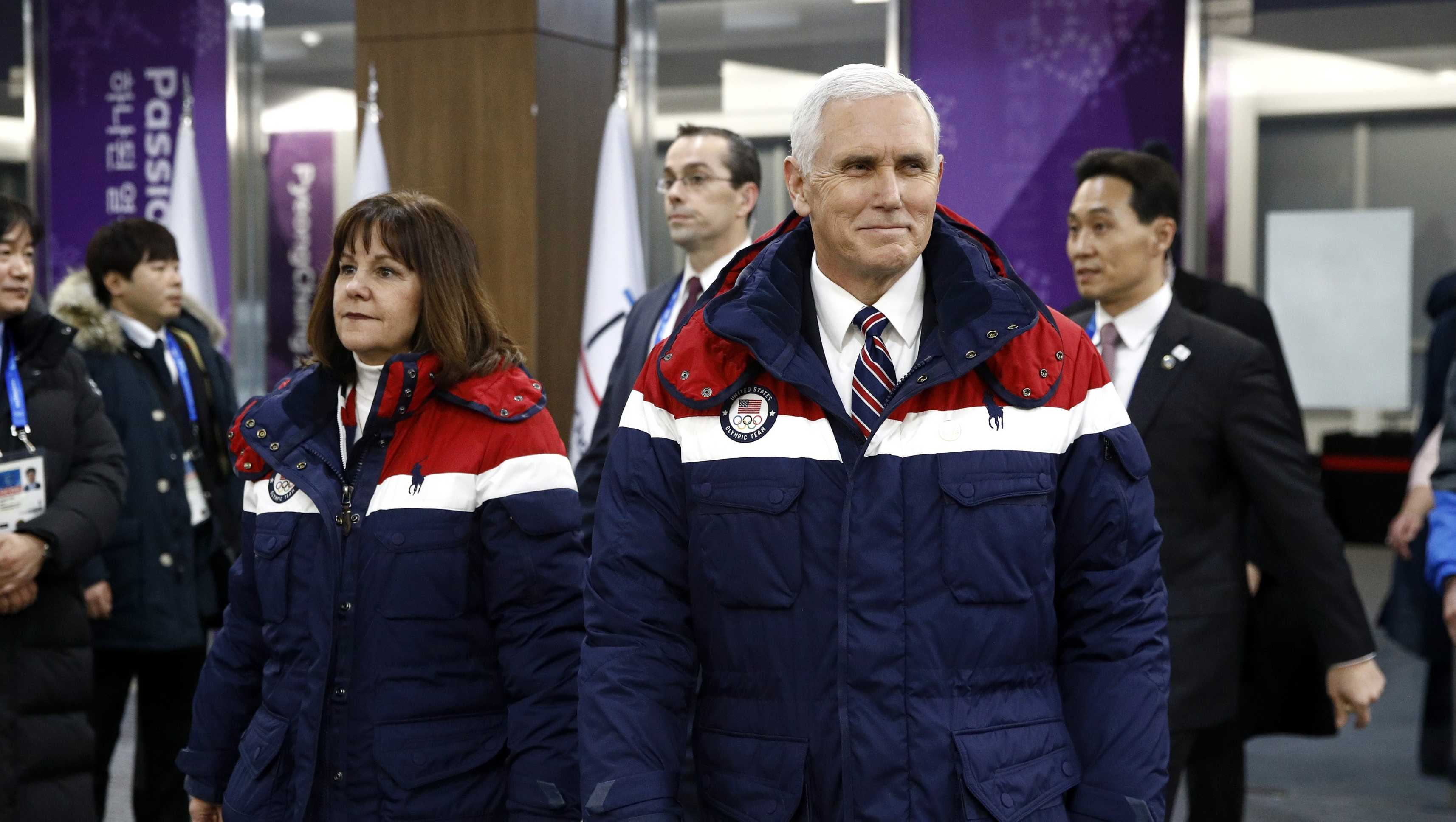 Vice President Mike Pence walks to his seat alongside second lady Karen Pence at the opening ceremony of the 2018 Winter Olympic Games at PyeongChang Olympic Stadium on February 9, 2018 in South Korea.