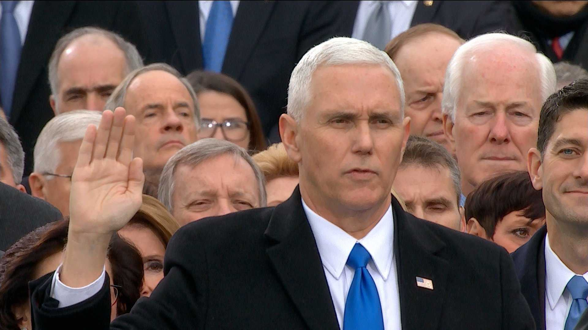 Mike Pence takes the Oath of Office to become Vice President of the America at the Capitol on Jan. 20, 2017.