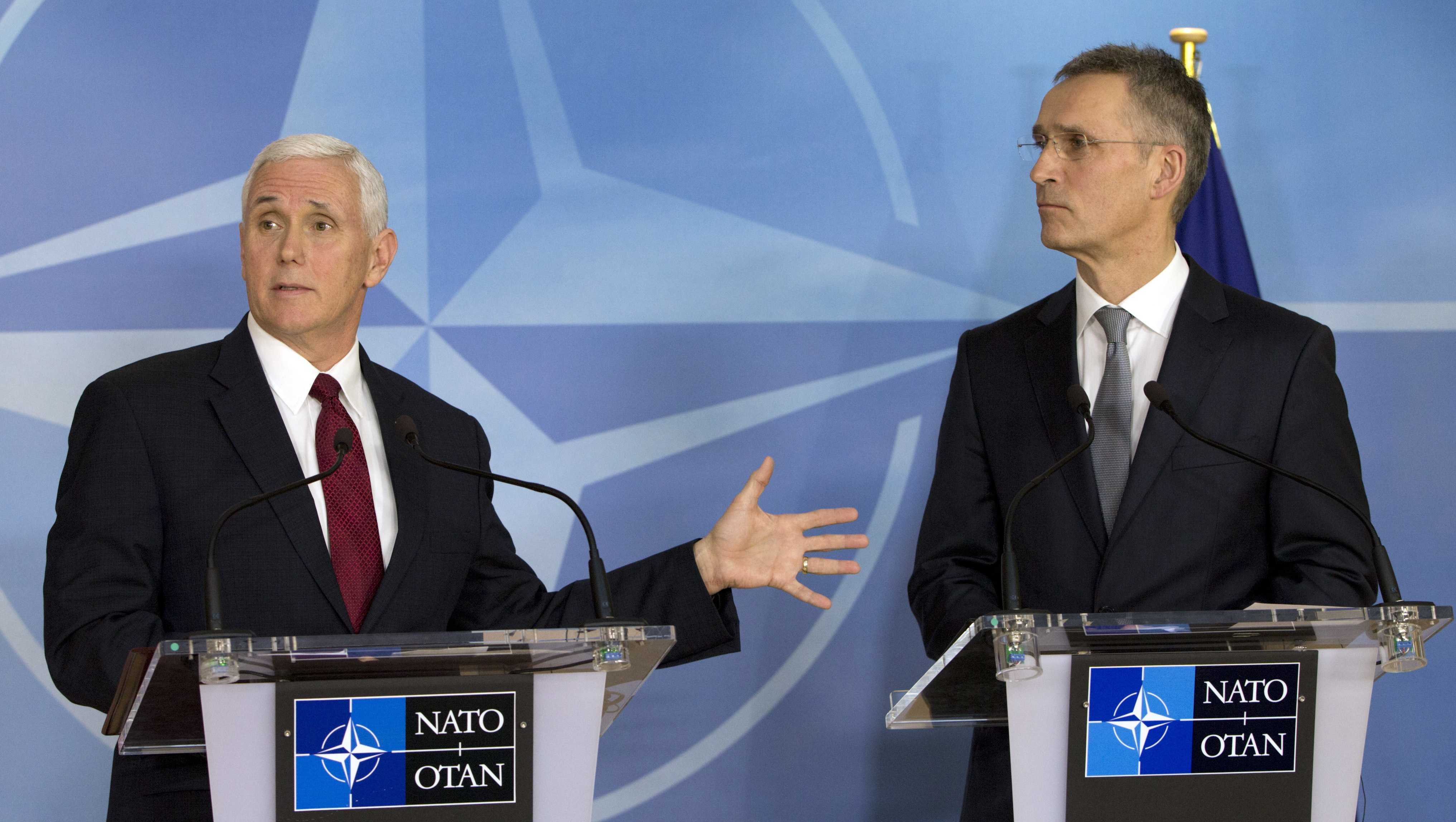 United States Vice President Mike Pence, left, and NATO Secretary General Jens Stoltenberg address a media conference at NATO headquarters in Brussels on Monday, Feb. 20, 2017.
