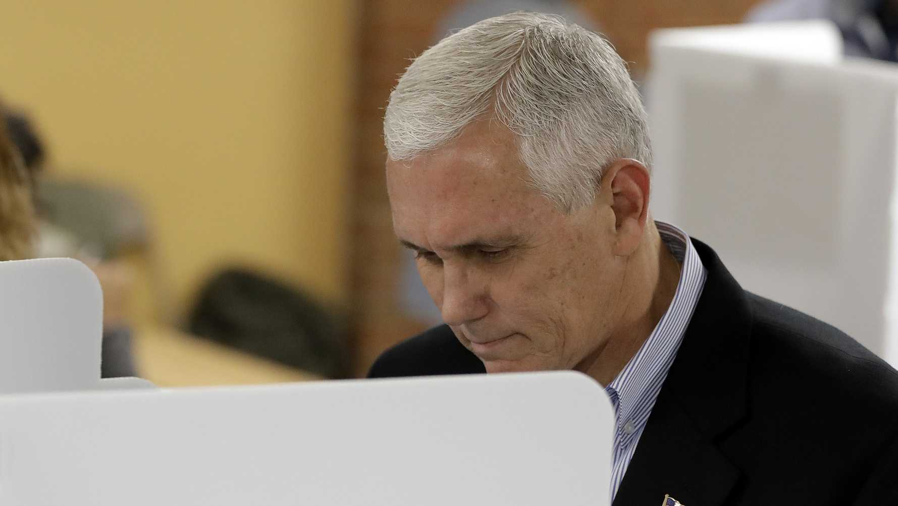 Republican vice presidential candidate, Indiana Gov. Mike Pence, cast his is ballot in Indianapolis.