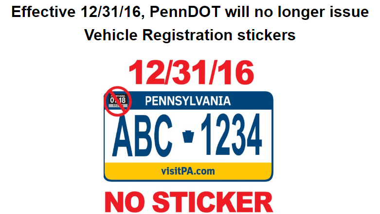 Penndot will no longer issue vehicle registration stickers sciox Choice Image