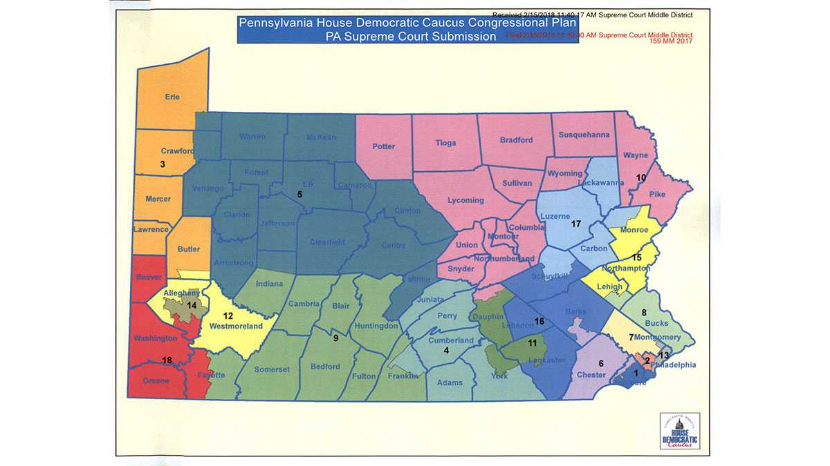 Democratic proposed map of Pennsylvania congressional districts