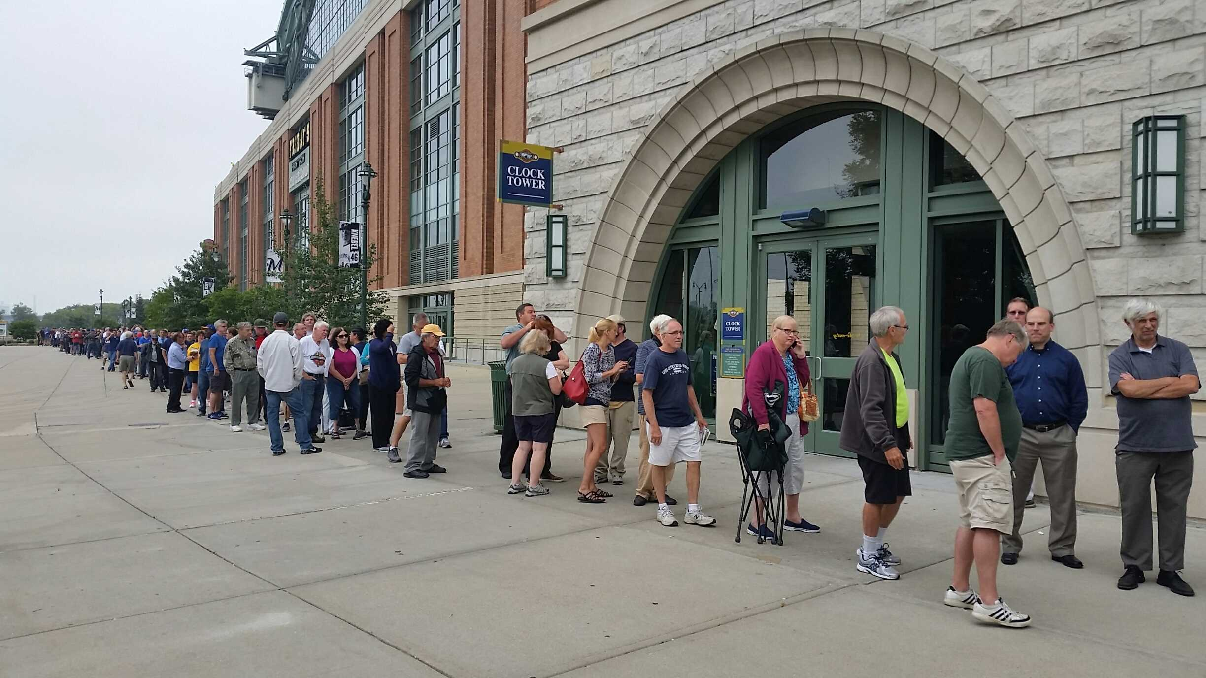 People line up for Brewers-Marlins tickets