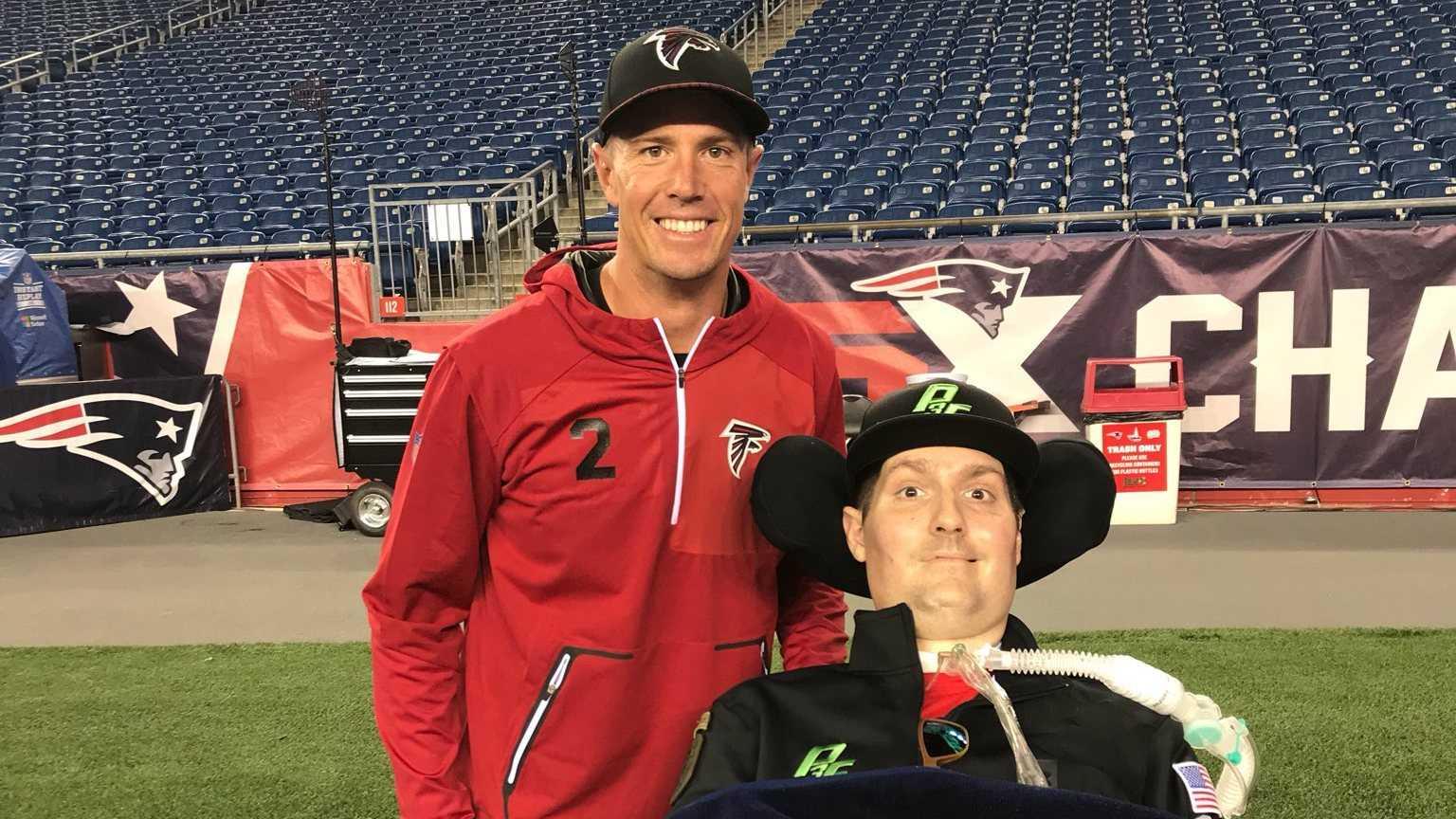 Pete Frates with Falcons QB Matt Ryan