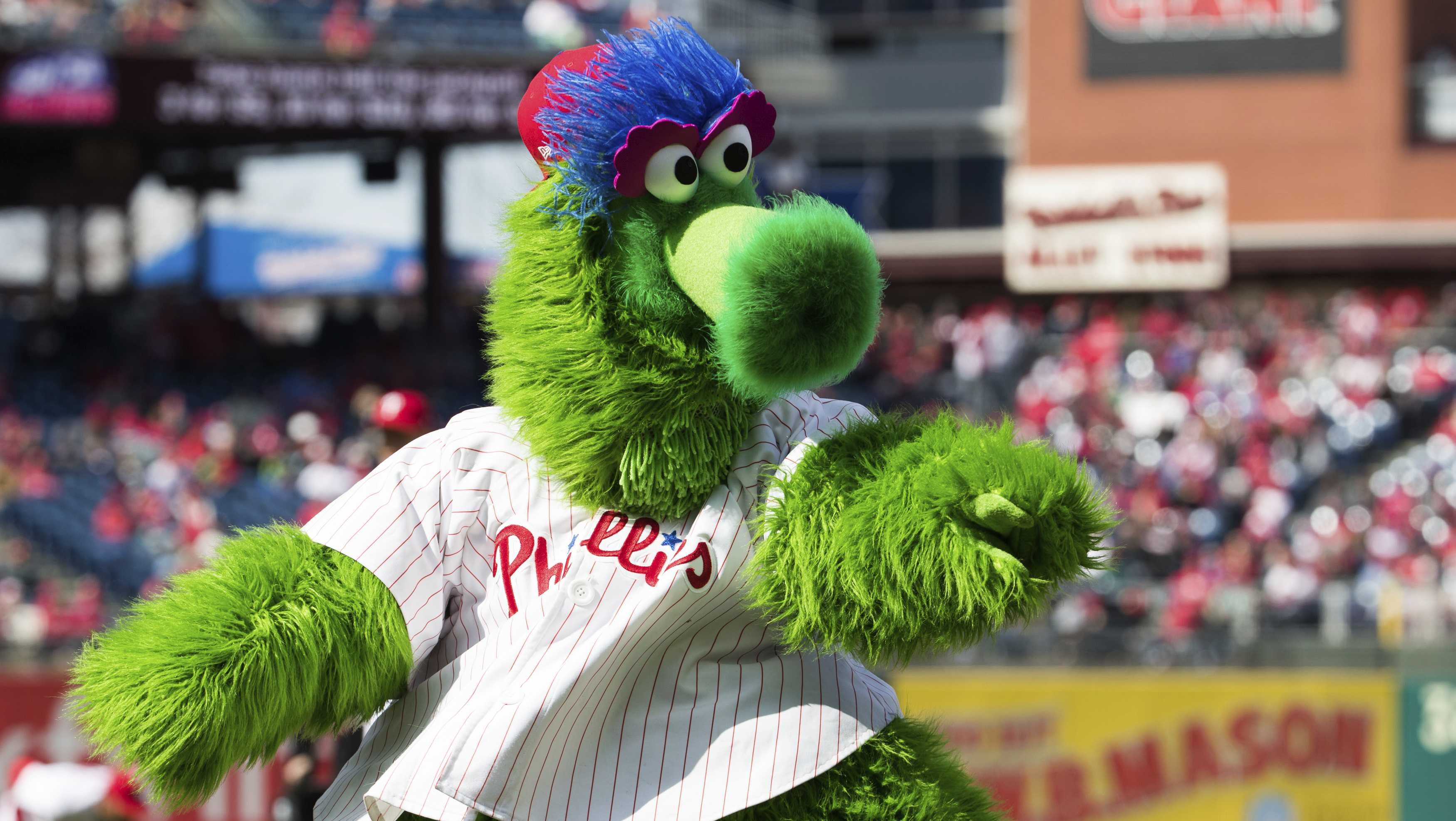 The Phillie Phanatic reacts prior to the first inning of a baseball game against the Miami Marlins, Thursday, April 5, 2018, in Philadelphia.