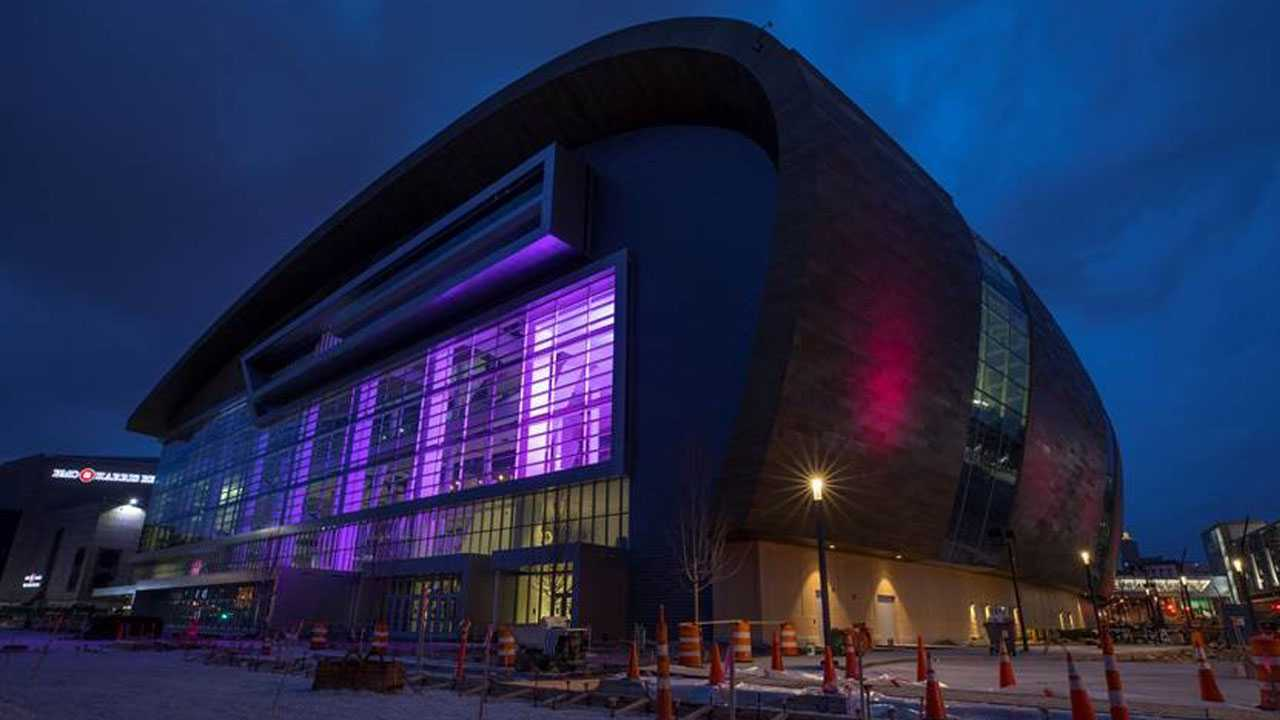 The exterior of the WESC and the Froedtert & the Medical College of Wisconsin Sports Science Center were lit in pink Wednesday evening, ahead of the Thursday morning P!NK announcement.