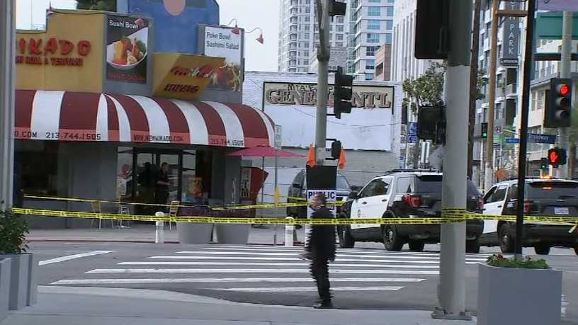 Police say an officer fatally shot a man who was wielding a pipe in Los Angeles on Saturday