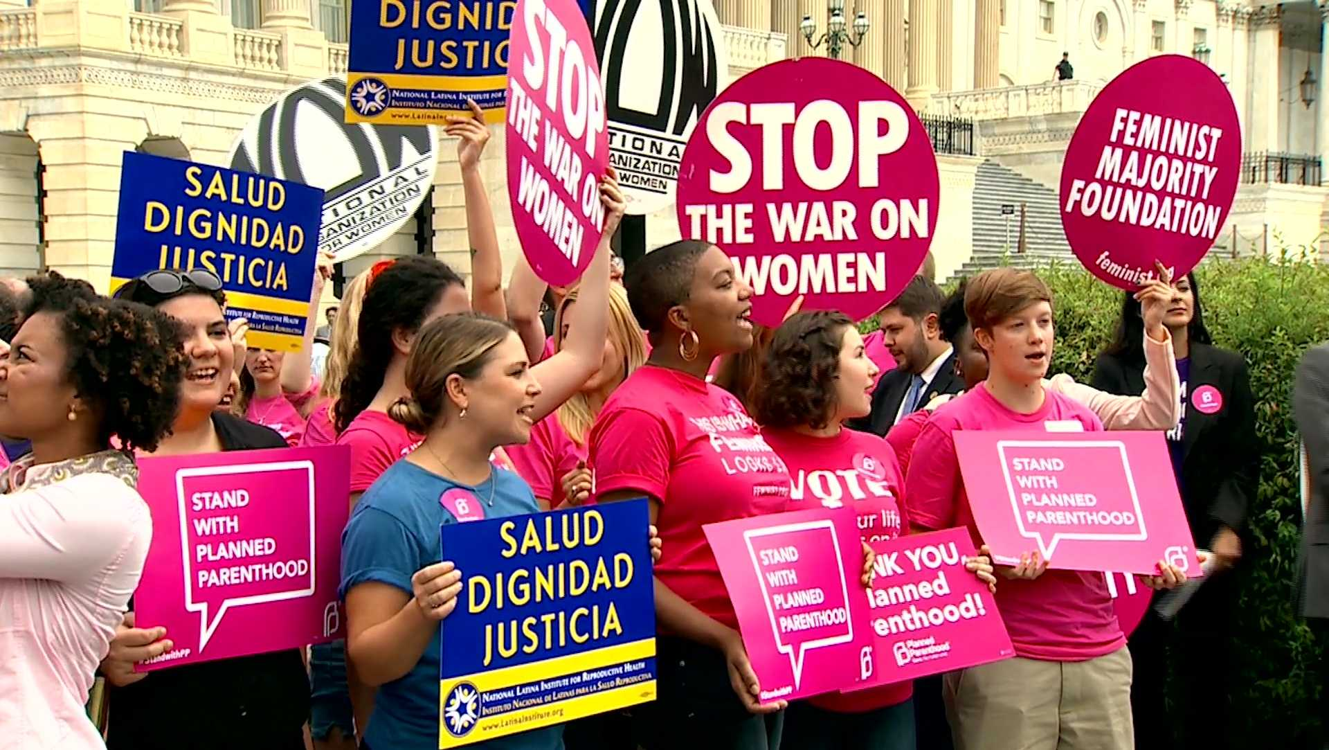 A rally with Planned Parenthood supporters.