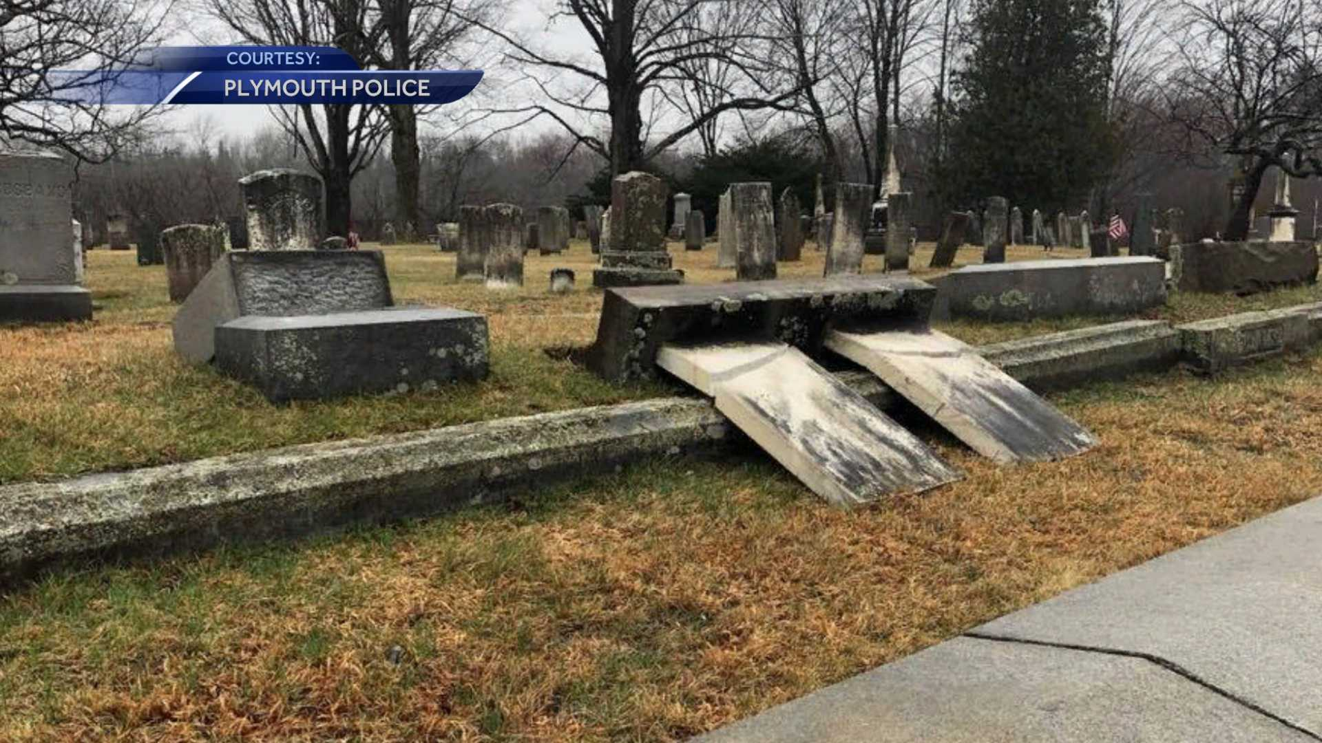 Plymouth police investigating cemetery vandalism
