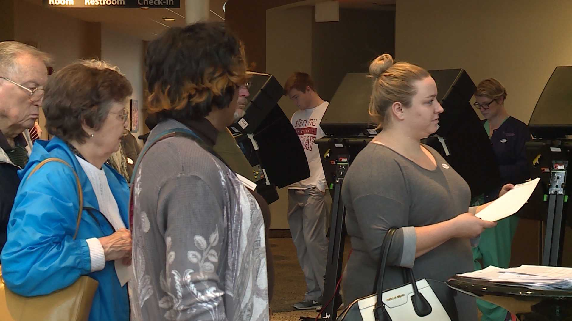 Voters in line at the Trinity Fellowship Assembly of God in Fayetteville, November 2016