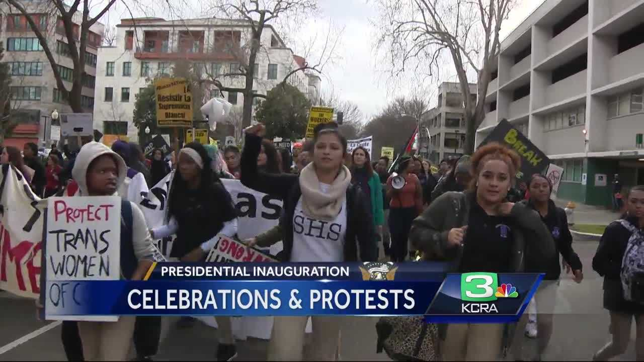 A protest broke out Friday in Sacramento after President Trump took Oath of Office. Jan. 20, 2017