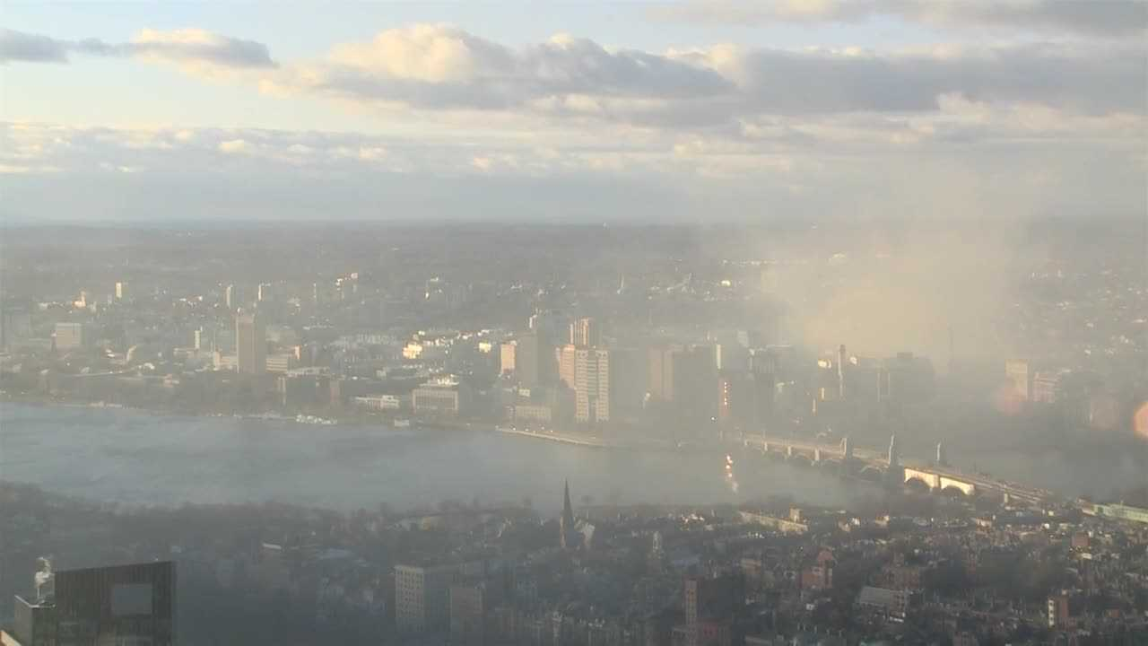 Smoke rises over city during Cambridge fire