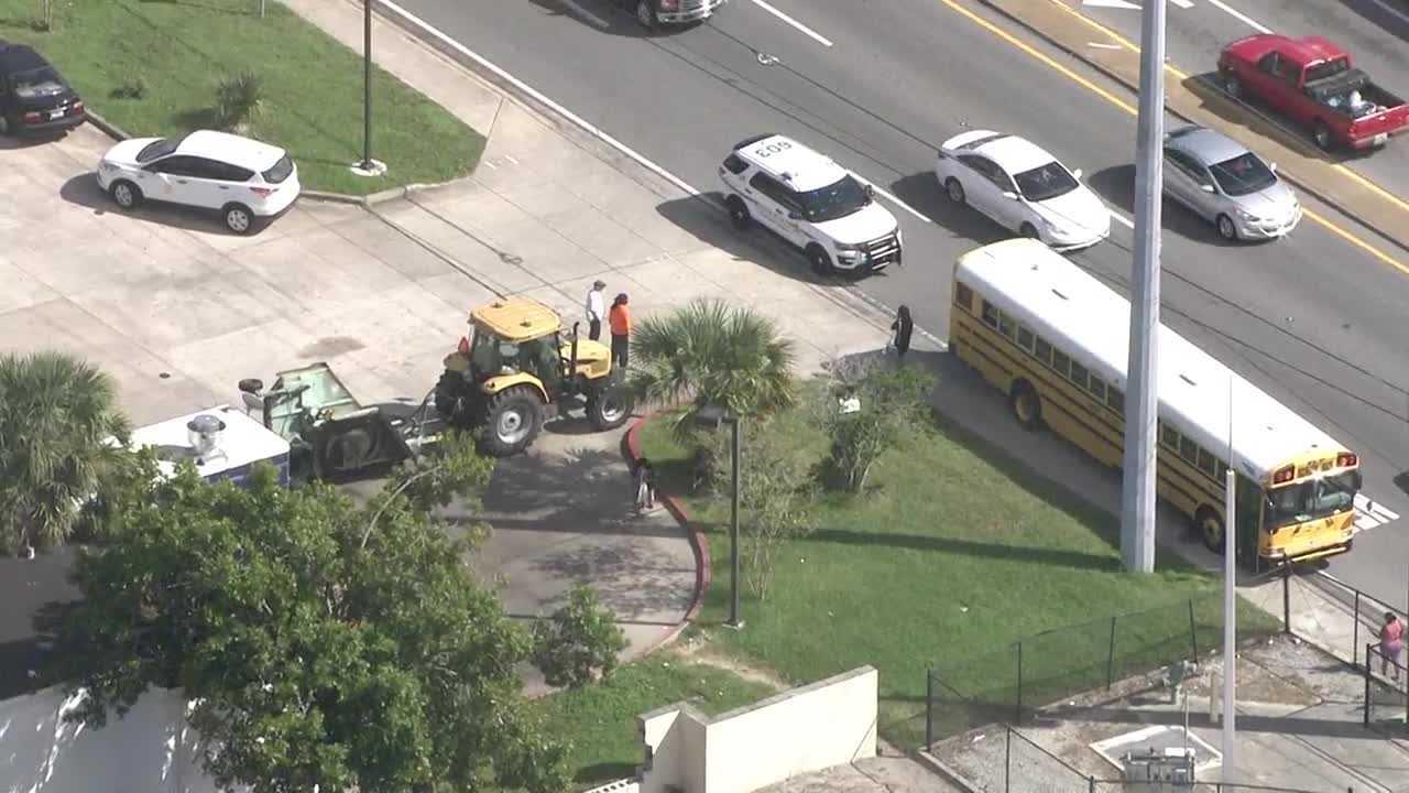Tractor school bus crash