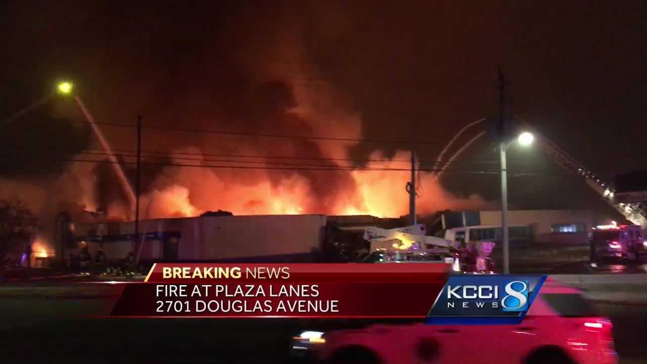 THE LATEST: Multiple fire crews battle massive blaze at Plaza Lanes