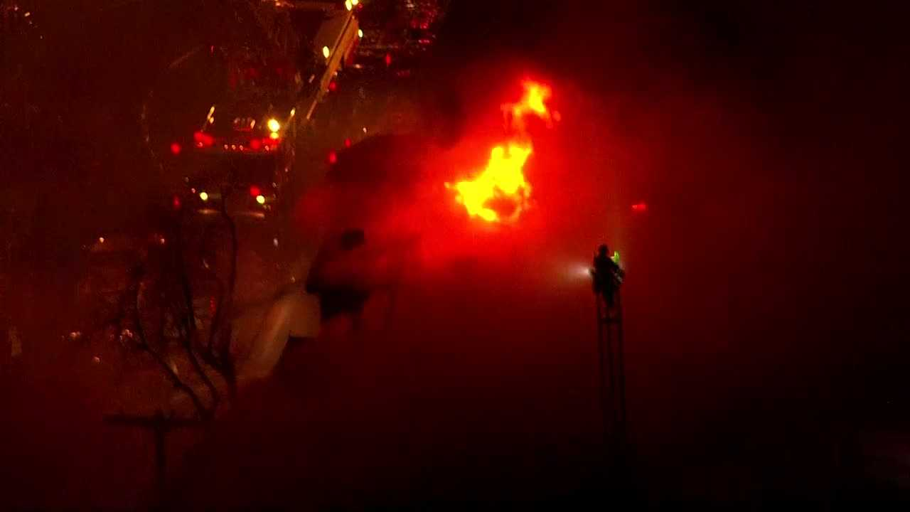 Cambridge fire seen from Sky5 at night