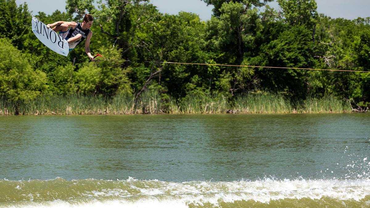 Massi Piffaretti rides in the Supra Pro Wakeboard Tour at Trinity Trails at Marine Creek Lake in Dallas, Texas.