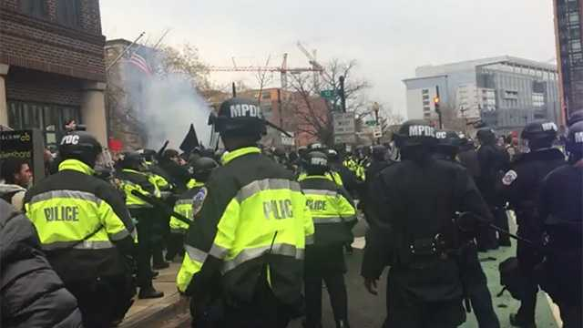 Police clash with protesters raging against the inauguration of Donald Trump in Washington D.C. on Jan. 20, 2017.