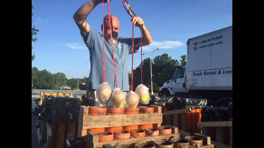 Pyro technicians get ready for the Wells Fargo Red, White and Blue display in Greenville